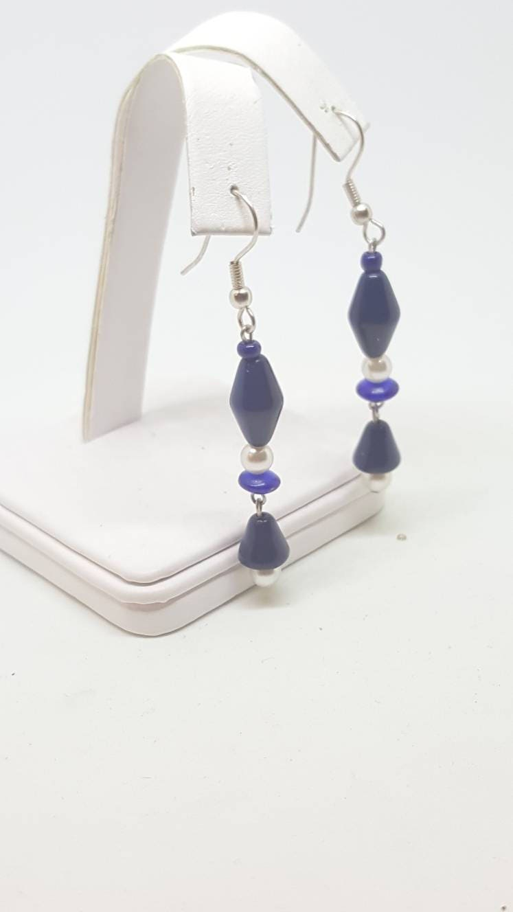 Drop dangle earrings blue beads and pearl earrings.gift for her birthday gifts 2.3 inch long