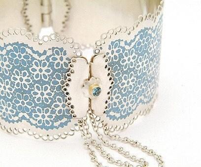 Lace Inspired Cuff - Sea Blue