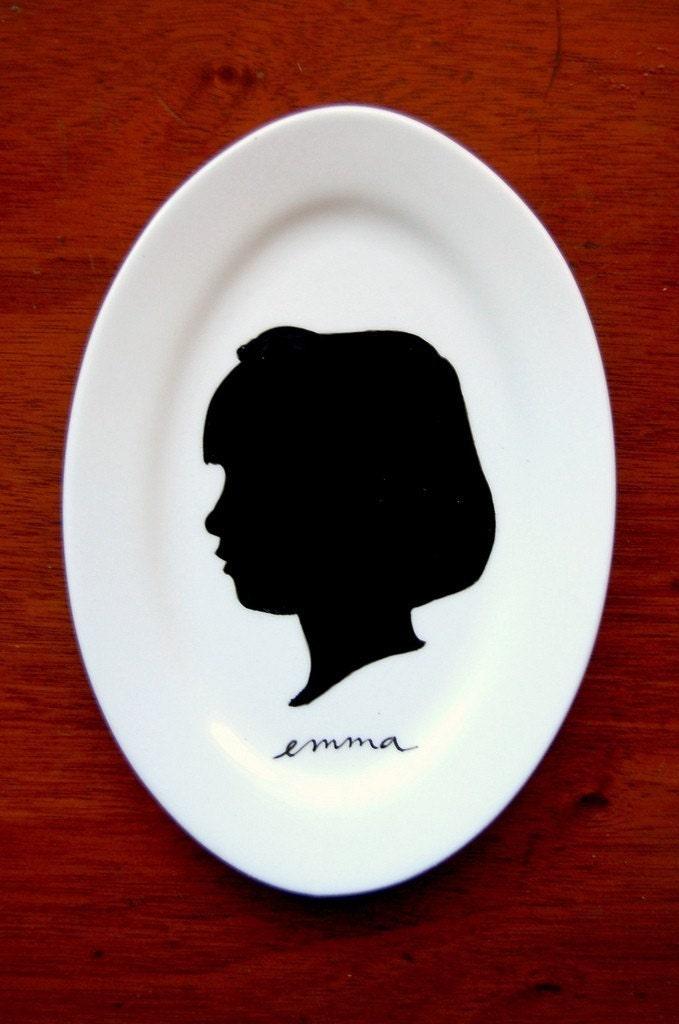 Custom Portrait Silhouette Plate, $49 @etsy.com