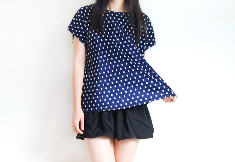 Vintage Navy Blue and White Polka Dot Pleated Blouse - AmprisLoves