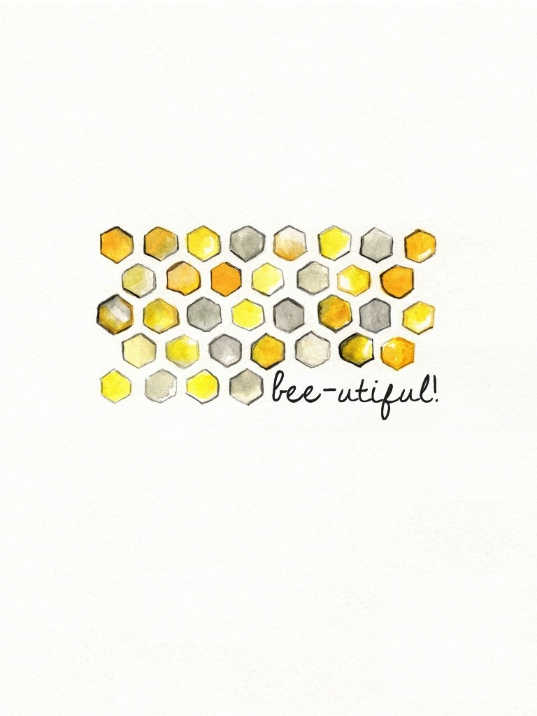 Bee-utiful/ Honeycomb/yellow and gray/yellow and grey/Archival Watercolor Print - kellybermudez