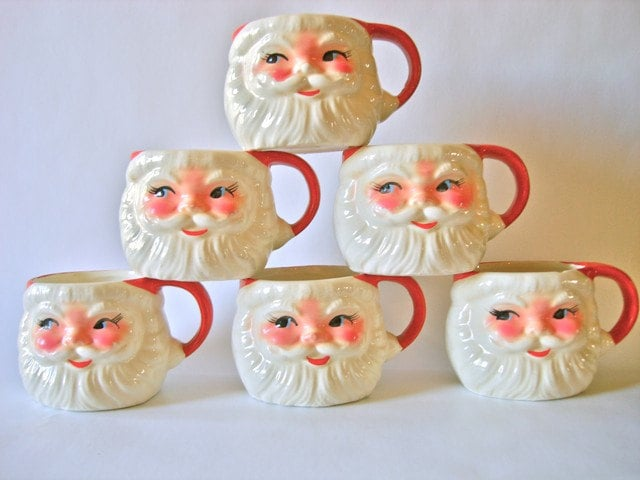 vintage christmas santa mugs