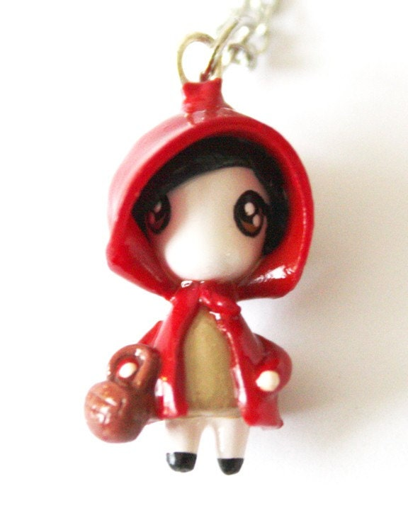 FREE SHIPPING - Little Red Riding Hood - Fairytale - Miniature Sculpture - Charm Necklace