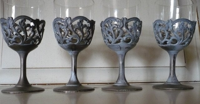 TREASURY ITEM:  Vintage Ornate pewter/silverplate Glass Wine, Cordial or Shot Glasses