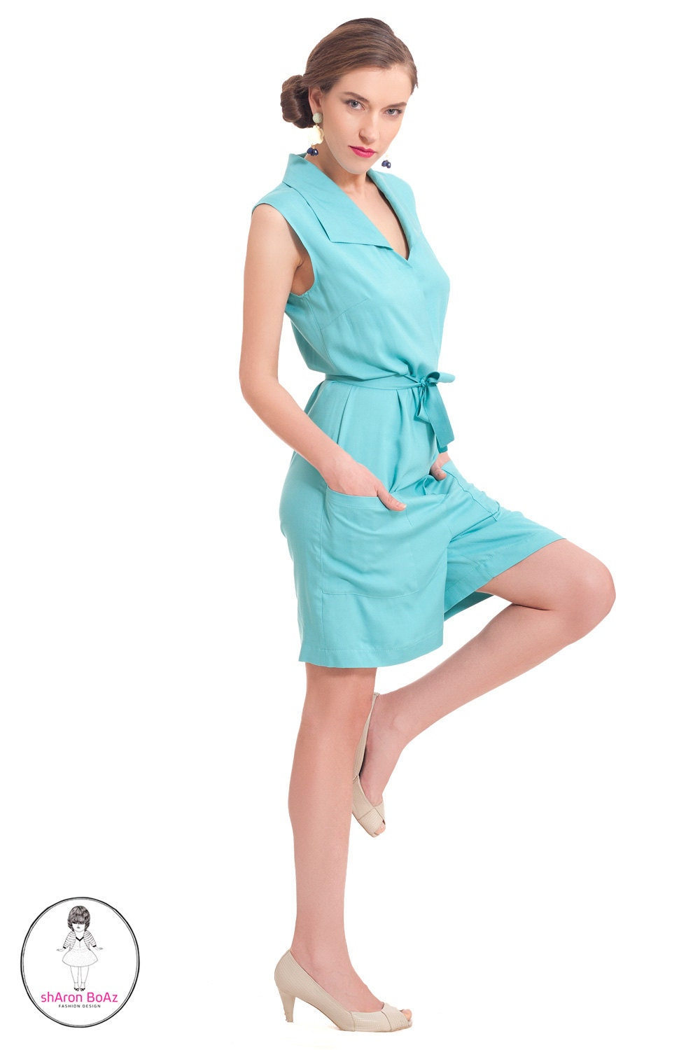 SALE,  Women Romper, Aqua jumpsuit, Women romper, Summer fashion - SharonBoazFashion