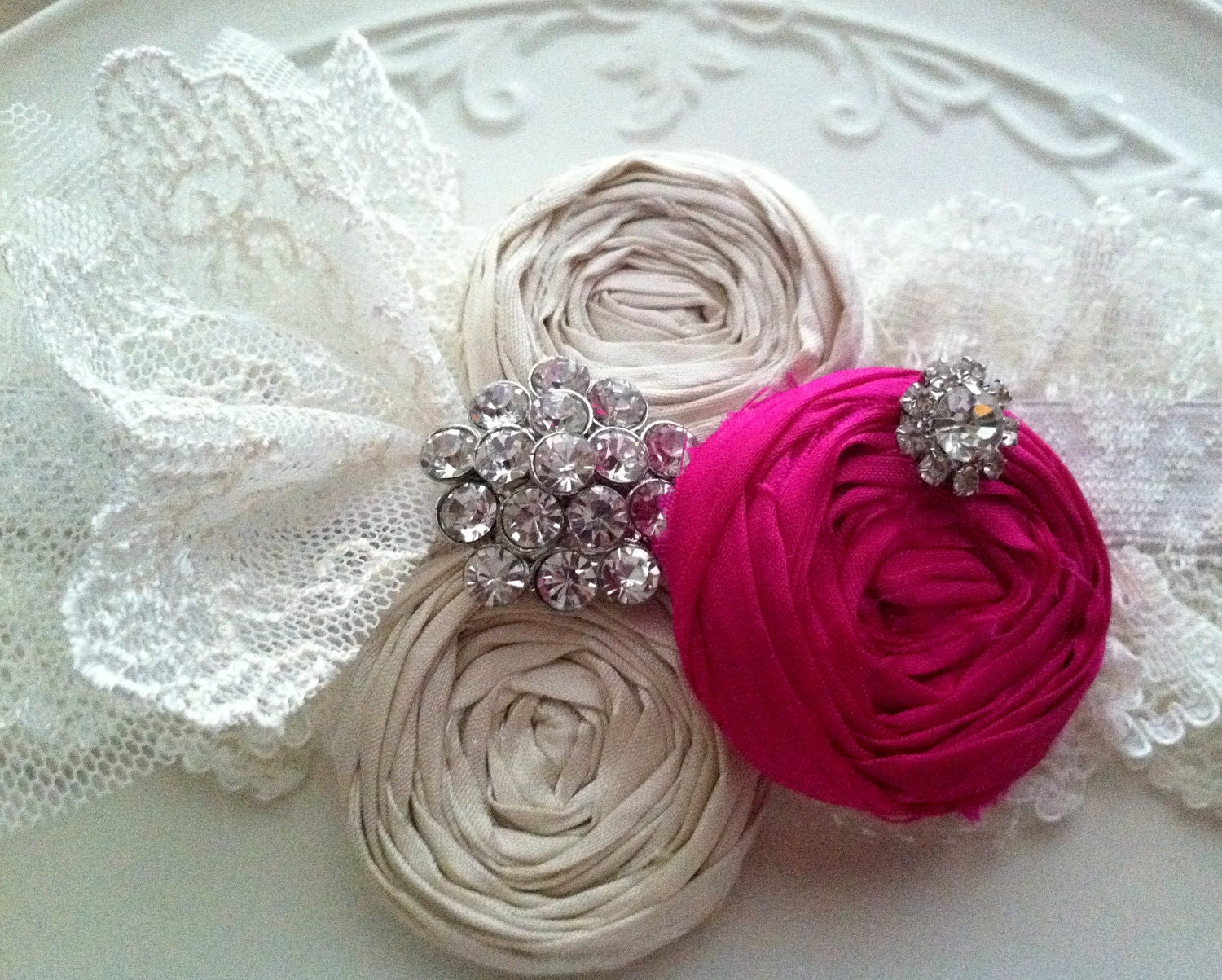 Neon Fashion Lace Garter Pink Fuschia Wedding Garter Vintage Lace and Silk Bright Neon Pink and Ivory Cream Rosettes with Rhinestones