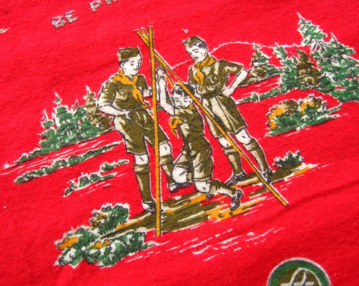 vintage boy scout flannel cotton fabric