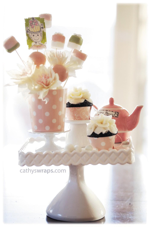 24 Tea Party Tea Cup Cupcake Wraps DIY Kit - Tea Party Decorations. Scallop, Polka Dot, Damask, Stripe Resuable Tea Cups - cathyswraps