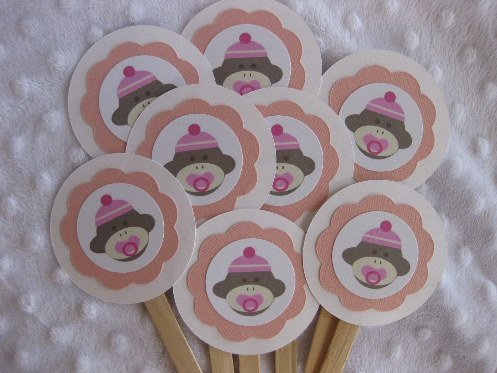 sock monkey baby cupcake toppers