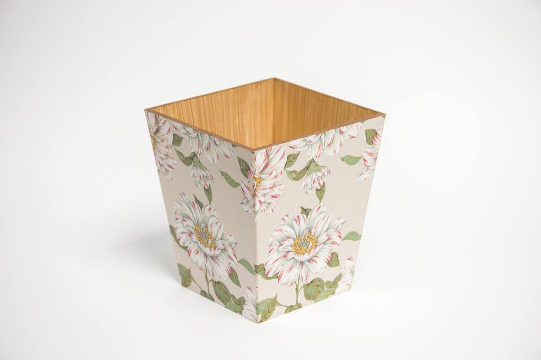Bloom Waste Paper Bin Trash Can Handmade Wooden handmade in UK