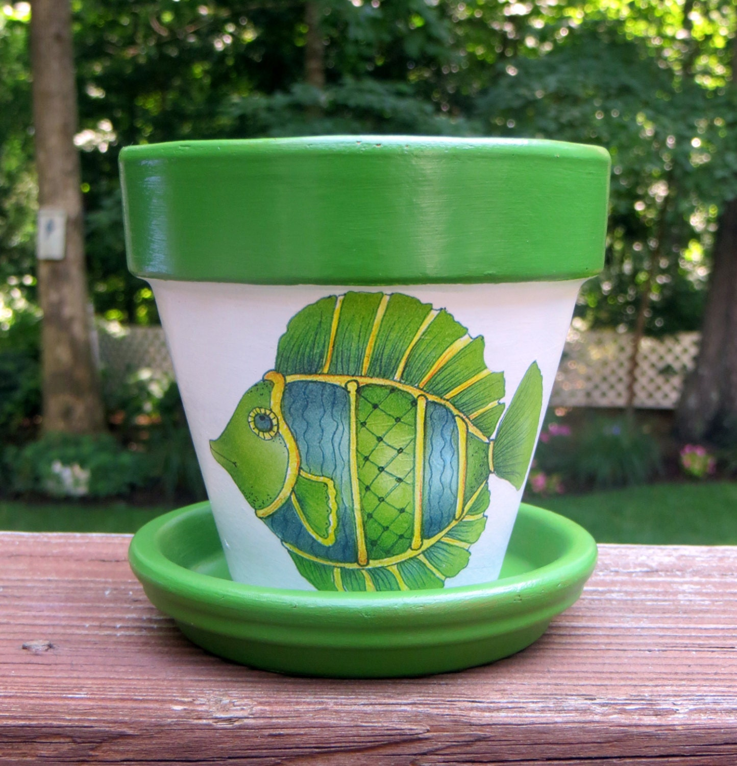 Green Terra Cotta : Painted green fish terra cotta flower pot by