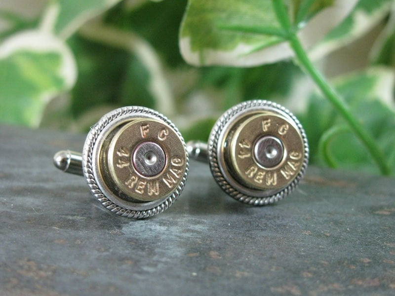 Bullet Cuff Links - Repurposed 44 Magnum Bullet Casing Cuff Links - Great for the Gun Enthusiast or Unique Groomsmen Gifts