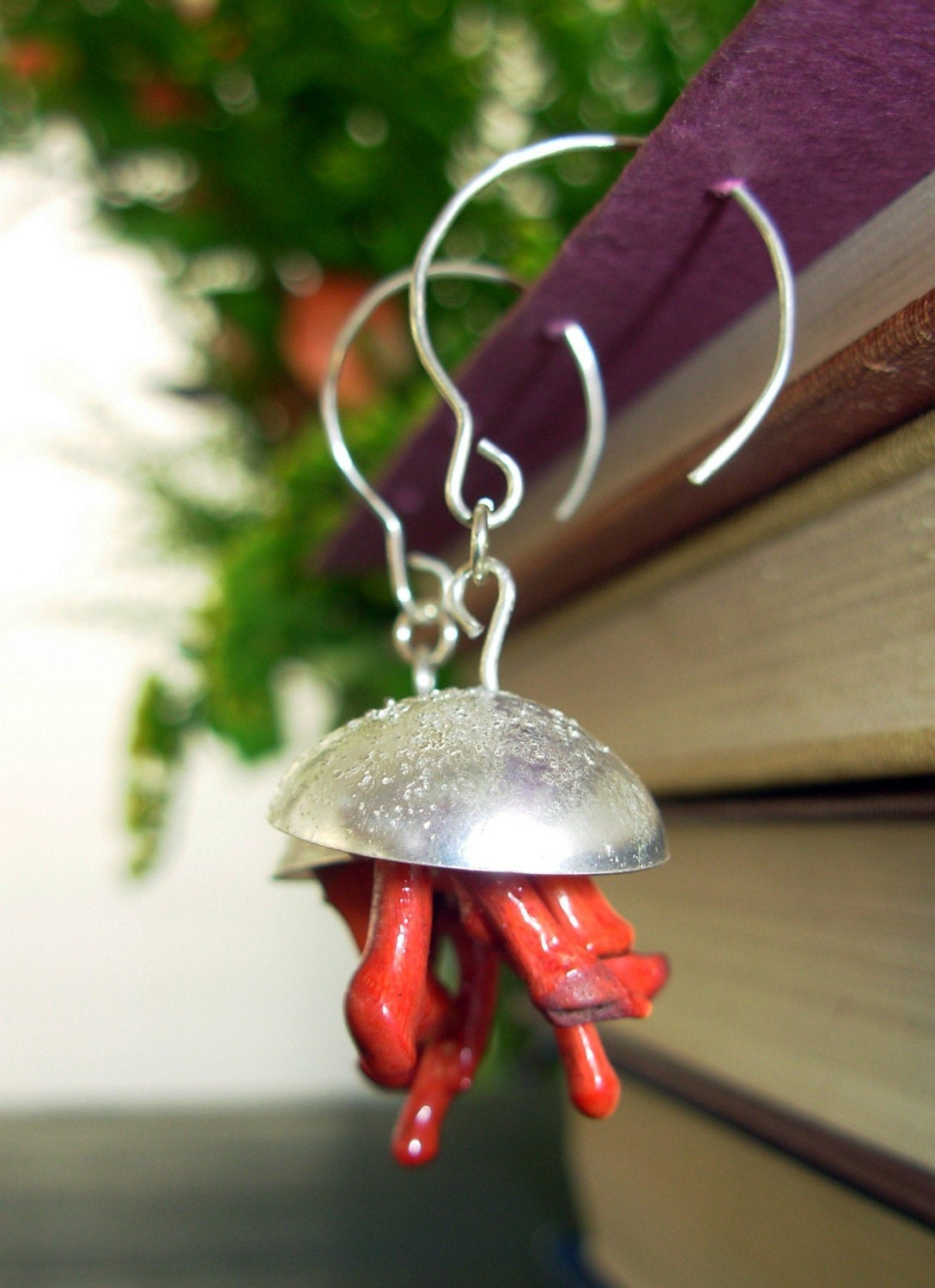 Shiny Dangle Sterling Silver Coral Earrings - OOAK - for Valentines Day