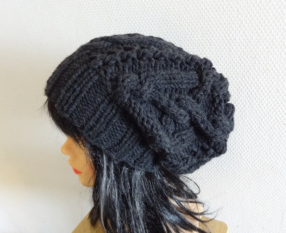 cable knit hat slouchy women / men Slouchy Beanie Cable by Ifonka