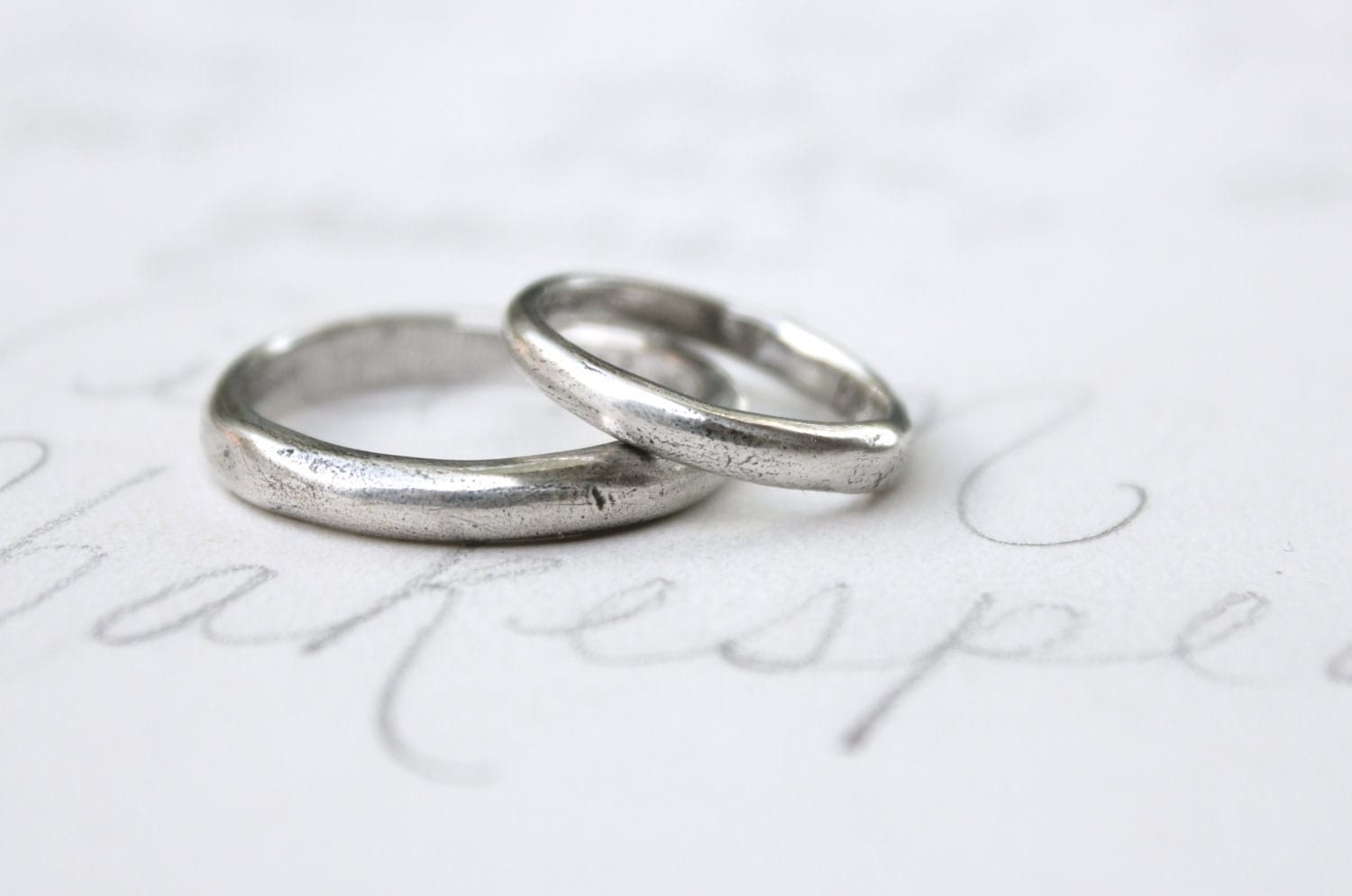 Unavailable listing on etsy for Silver band wedding rings