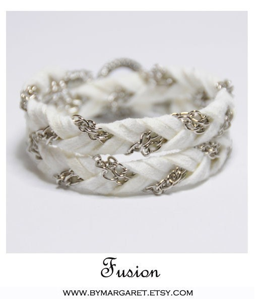 FUSION (SILVER) White, braided, friendship bracelet