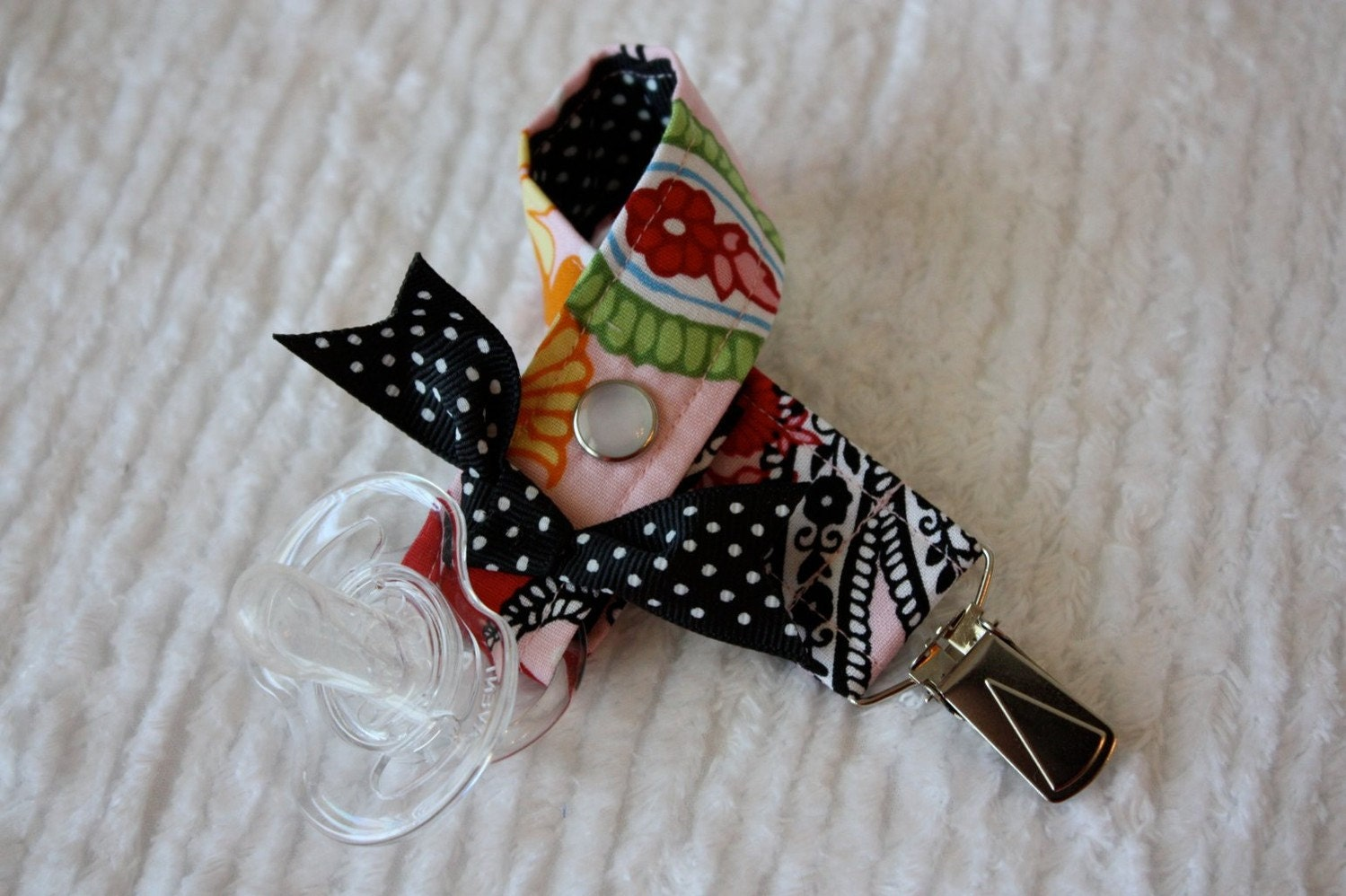 Pink Paisley Pacifier Clip Toy Clip Pre Made