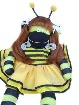 Bumbie The Beautiful Bumble Bee Sock Monkey With Long Beautiful Hair