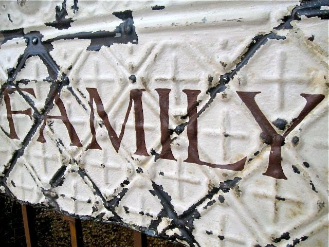 FAMILY Sign made with Antique Ceiling Tin Tile