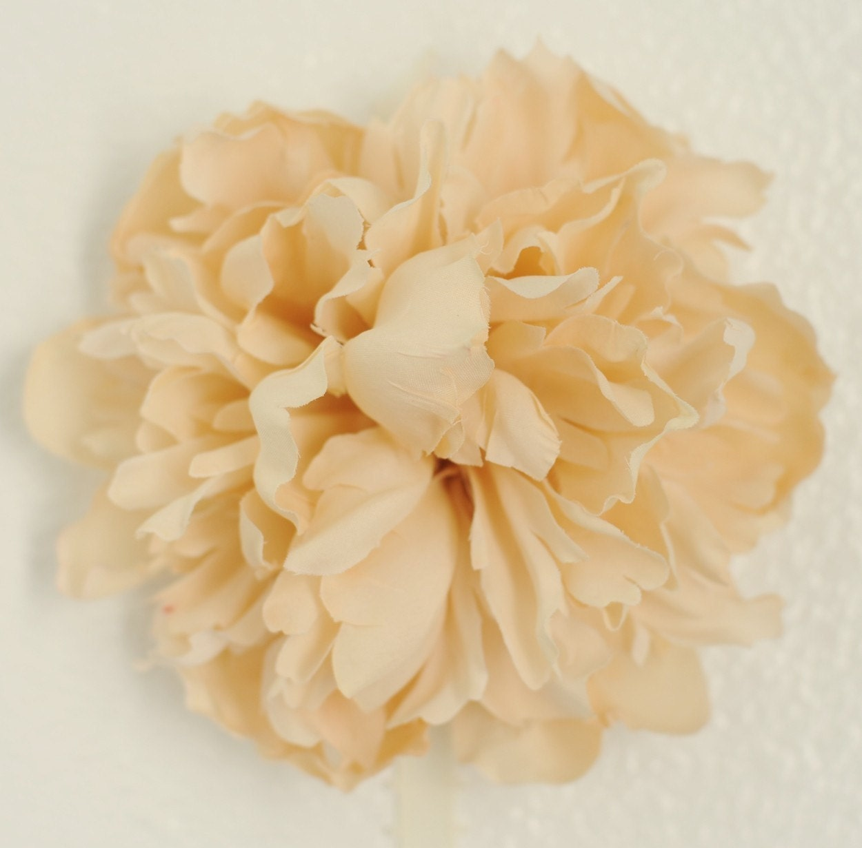 Stunning XL Cream Vintage Peony Women and Girl's Silk Flower Hair Clip with Multi Swaroski Crystal Center