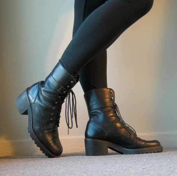 90s black high heel combat boots size 6 5 by