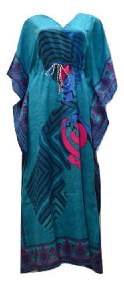 Plus Size Summer Paisley African Lady Print Drawstring Batwing Sleeve Kaftan Turquoise