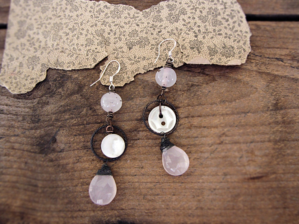 Dawn of Heaven - rose quartz earrings - antique buttons - artisan made - salvage bohemian bride