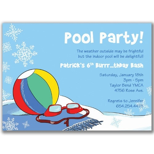 Items similar to Pool Party in Winter Blue Invitations for Boys ...: www.etsy.com/listing/90432495/pool-party-in-winter-blue-invitations