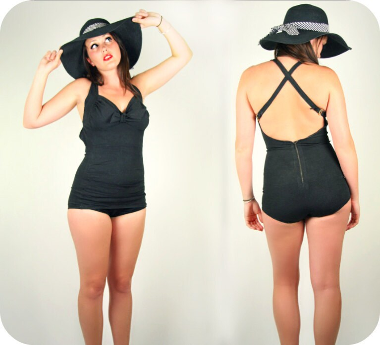 Vintage 40's - 50s Black Swimsuit Pin Up Girl