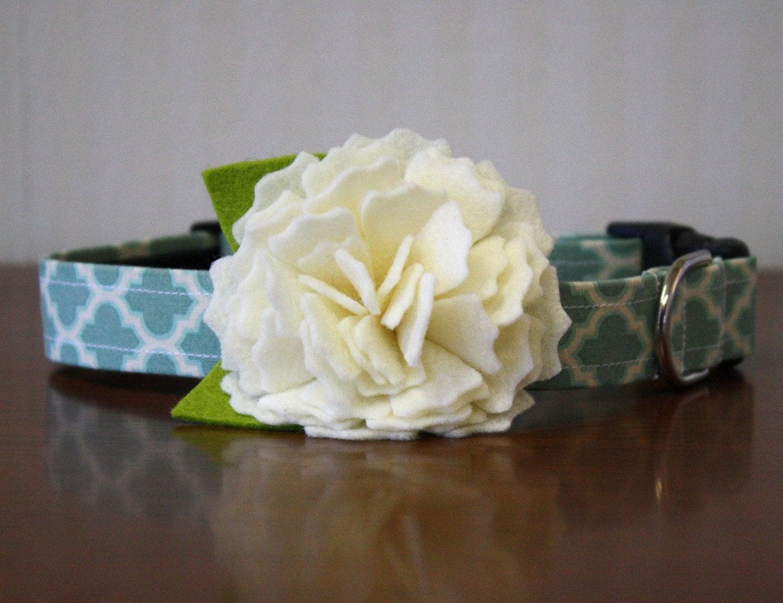 Ivory Peony Custom Flower Dog Collar