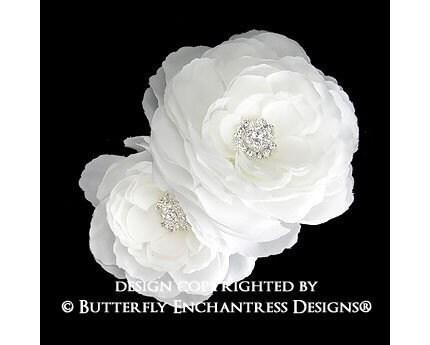 2 Rhinestone Diamond White English Rose Flower Hair Clips