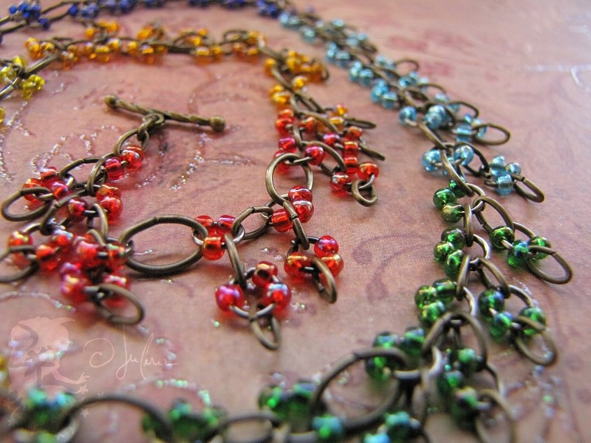 Magickal Necklace - Chakra Color Vibrant Meditation Red Orange Yellow Green Blue Indigo Violet Energy - Colors Of Isis