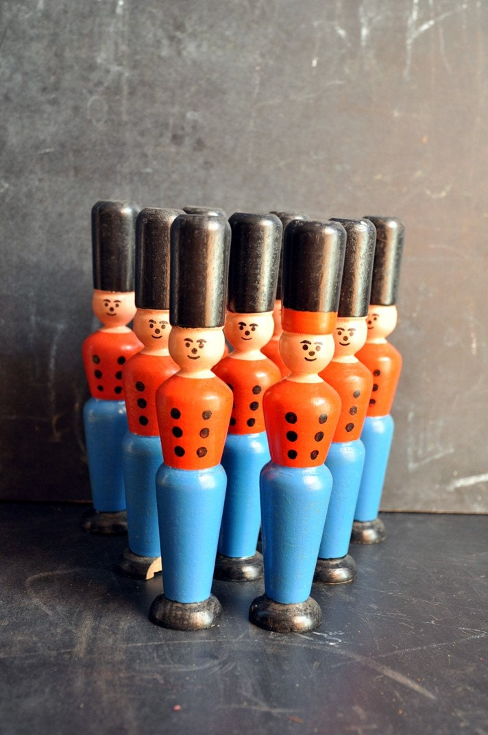 Wooden Soldier Antique Bowling Pins Set