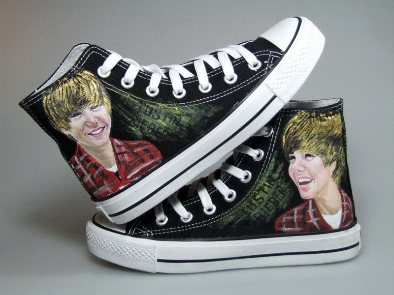 Justin Bieber hand painted on Canvas shoes