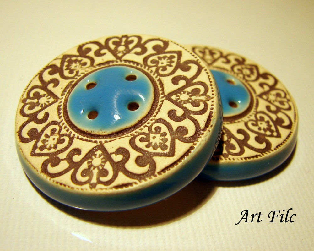 2 Big Art Ceramic Buttons Unique Turquoise Blue One of a Kind with Ornaments Original Decoration Eyecatching Brown Beige Decor Fashion Clay - ArtFilc