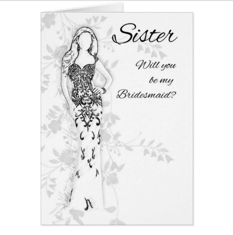 Bridesmaid Sister (or other personalised) Wedding Attendant Request Card Will you be my bridesmaid