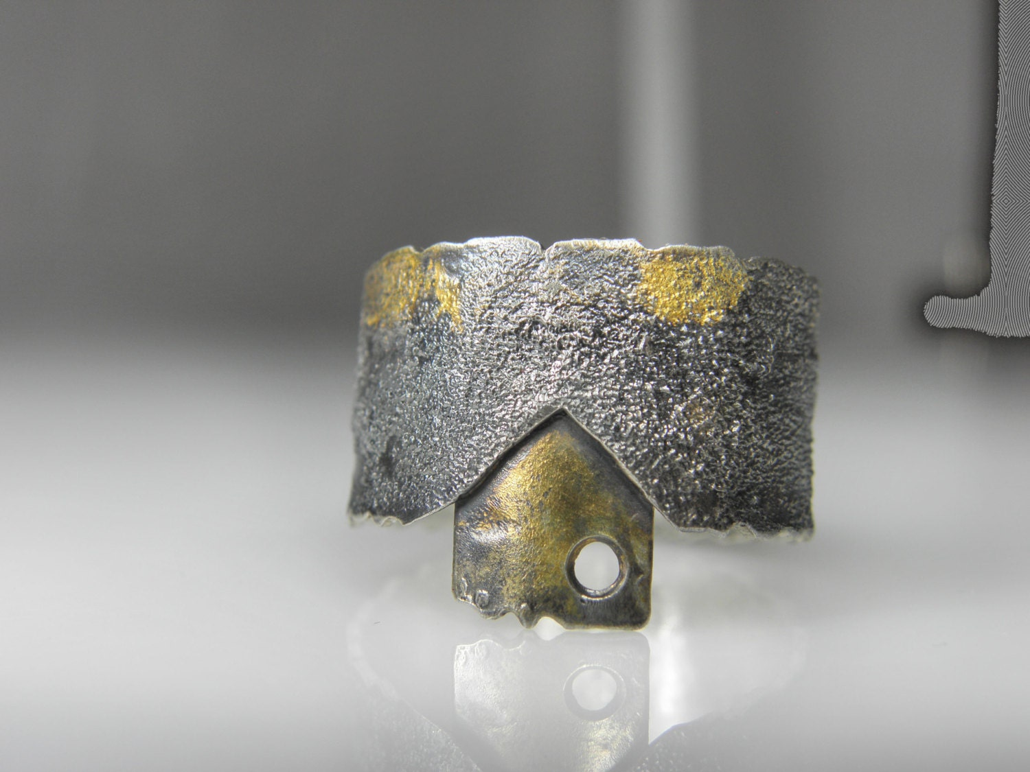 Silver men ring with 24 K yellow gold - unisex ring, oxidized ring - GENEZAjewelryART