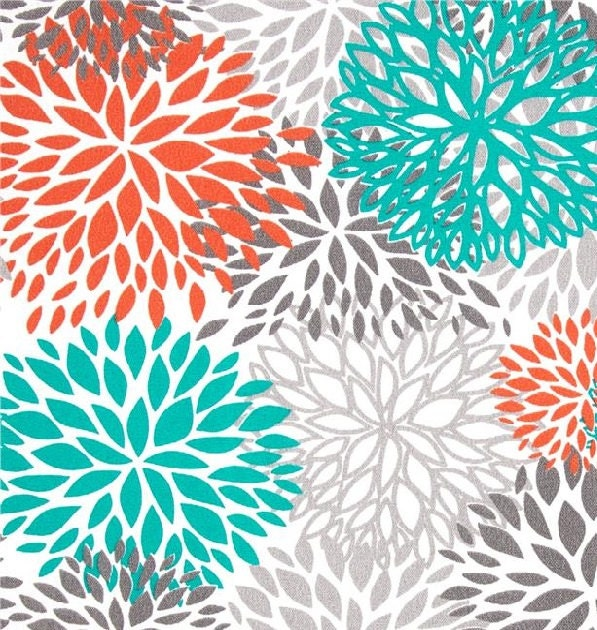 Items similar to drapes curtains premier prints blooms collection orange grey teal and