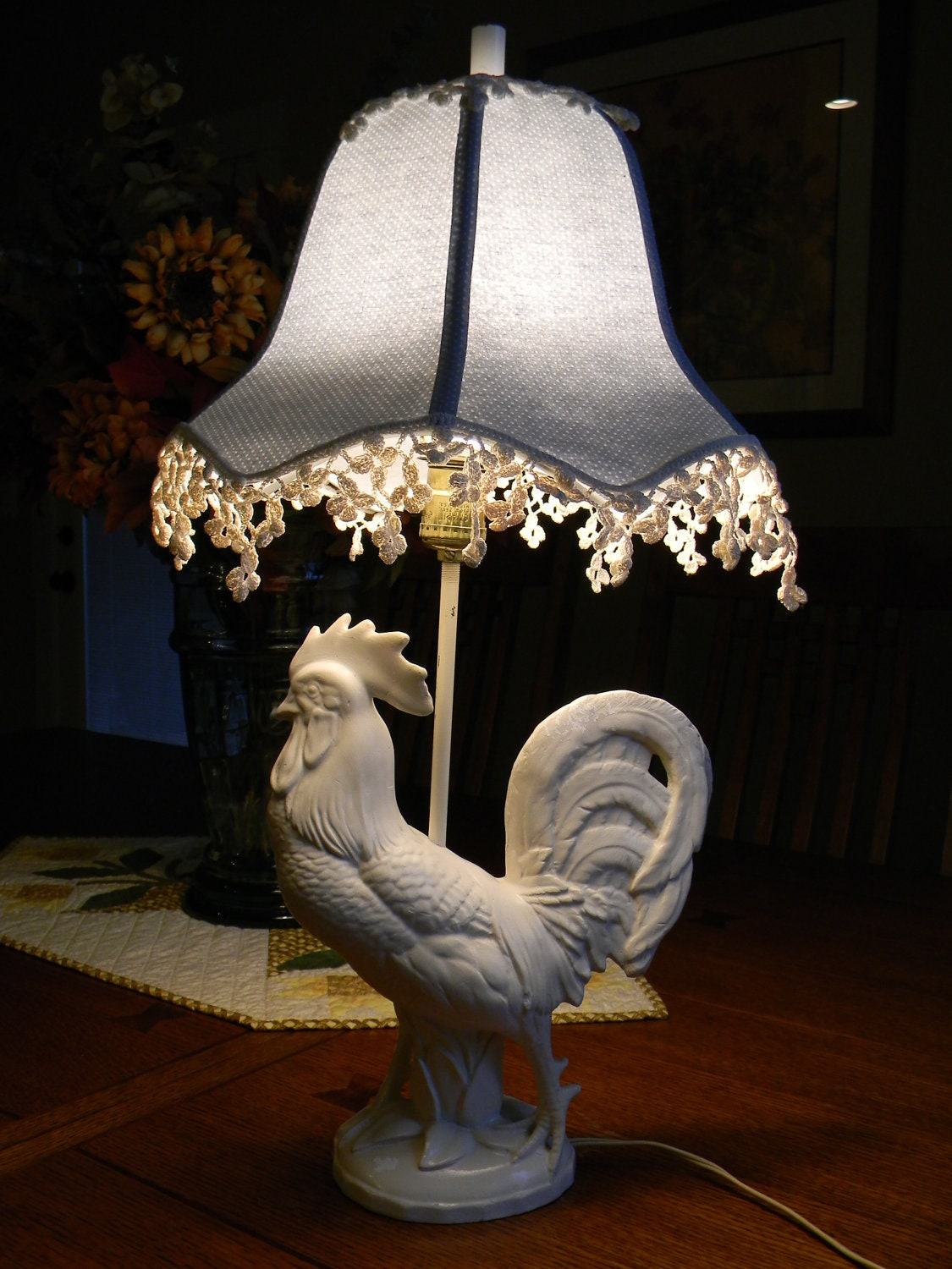 Price Reduced Vintage Rooster Lamp With Shade Antique By