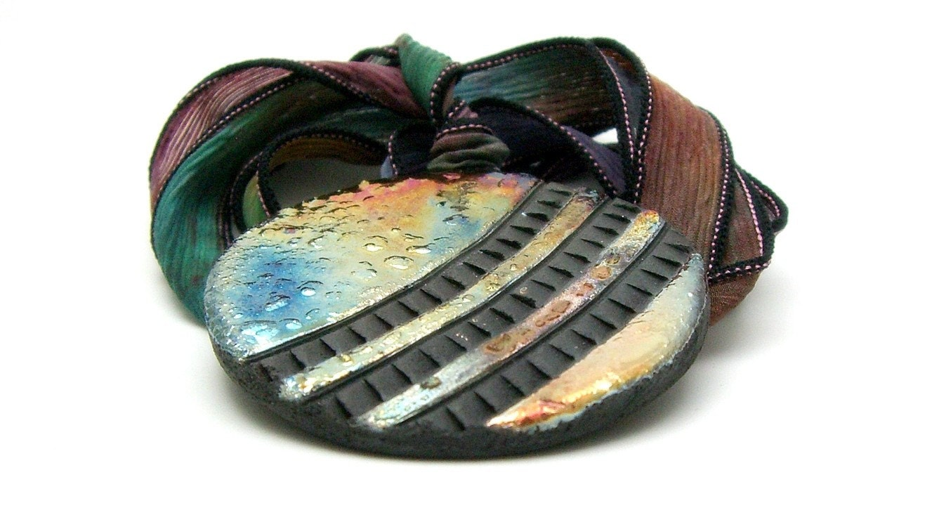 Wheels in Motion Raku Pendant Raku Ceramic Jewelry Handmade by MAKUstudio