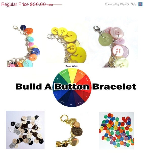 ON SALE Summer Jewelry Bracelet Button Charms, Build A Button Bracelet, Birthday, Grad, Bridal Party Colors, Favorite  Color, Color Combo