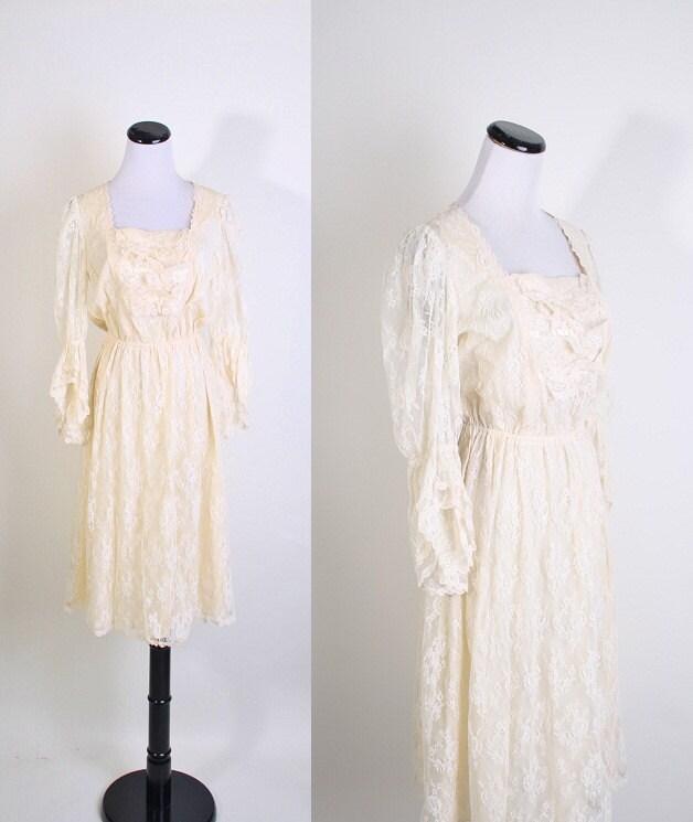 Vintage Ivory Edwardian 1970s Short Romantic Wedding Dress Wedding