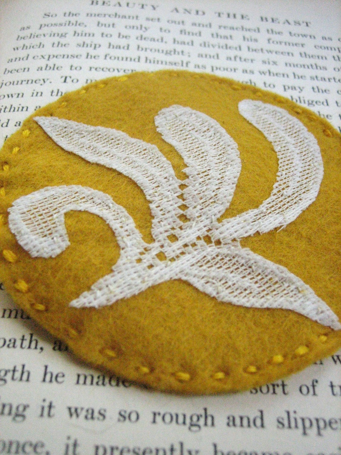 Lace Leaves Felt Fascinator in Mustard