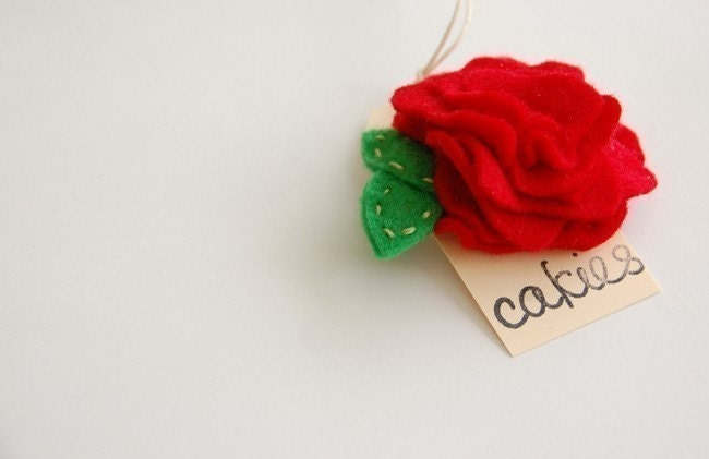Rosy Posy Hair Clip in Rose Red