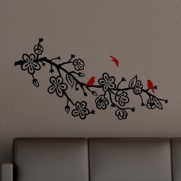 Cherry Blossom Branch with Birds vinyl decal