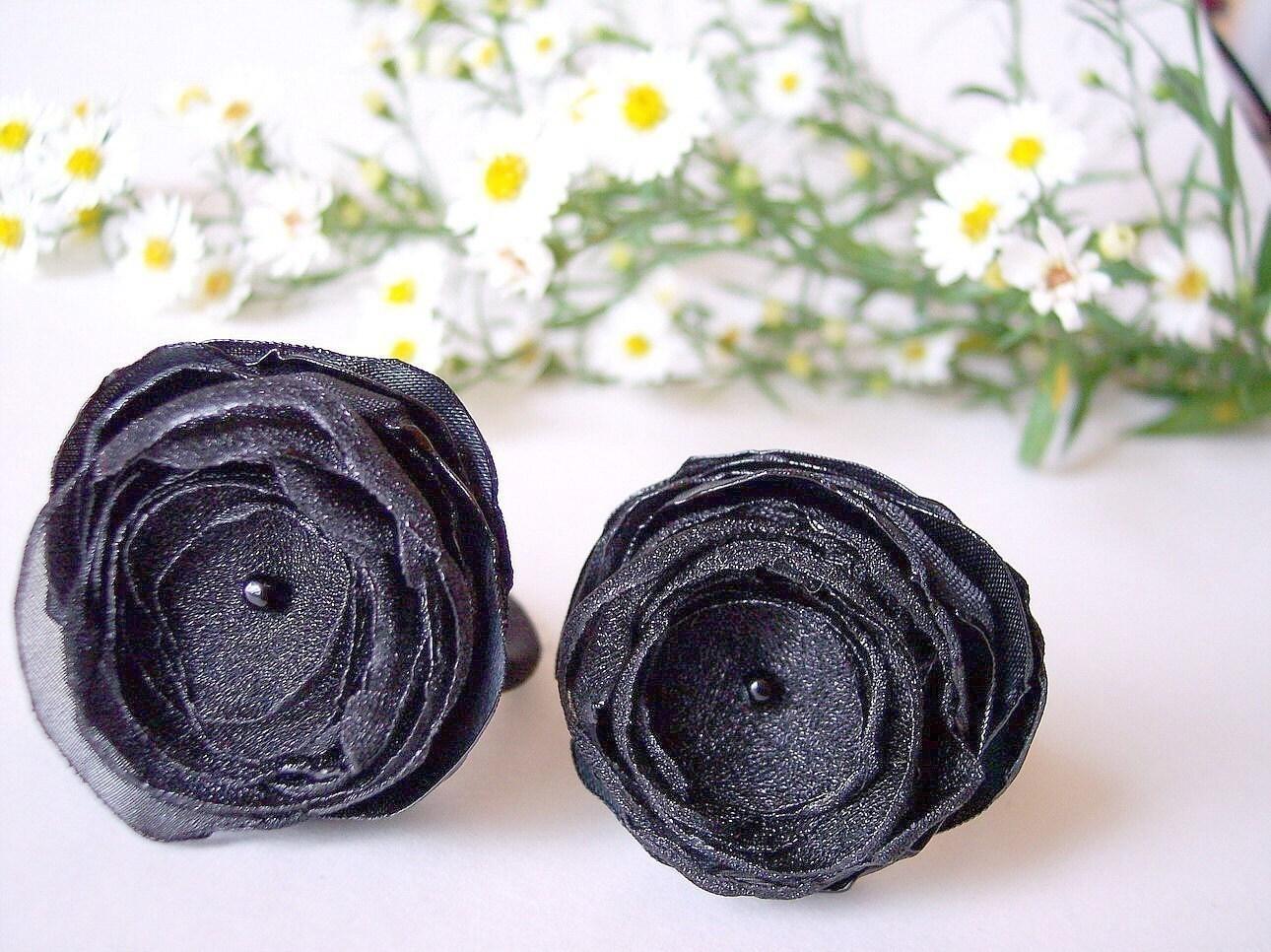 Ponytail держателей ручной работы атласа и органзы цвета BLACK - набор 2шт