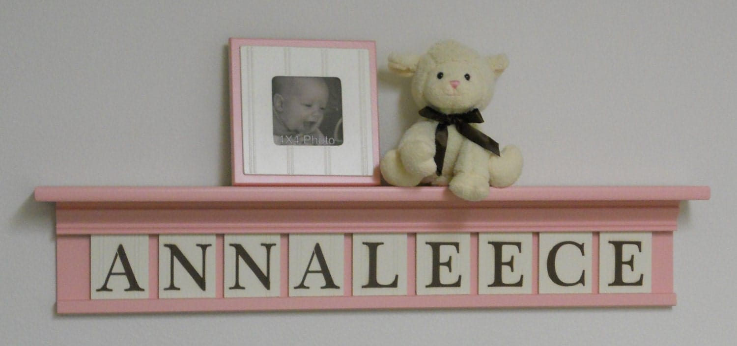 decorative nursery letter shelves baby pastel pink by. Black Bedroom Furniture Sets. Home Design Ideas
