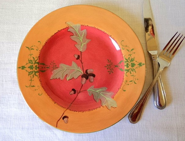 Oakleaf and Acorn Autumnal Flourish Plate