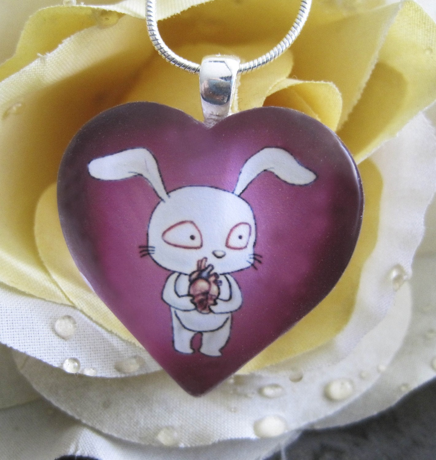 Bunny Love Glass Heart  Shaped Pendant