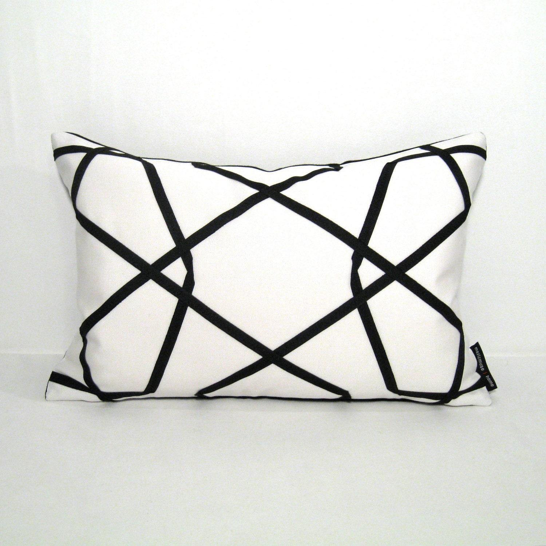 Black White Pillow Cover - Modern Outdoor Cushion - Decorative Geometric - Sunbrella - 12 X 18 inch